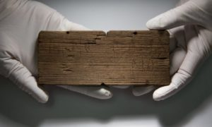 A Roman waxed writing tablet dated AD80-90/5 which reads: 'Tertio braceario' (To Tertius, the brewer).