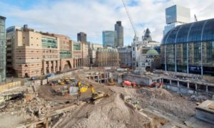 The site of excavations for Bloomberg's new European headquarters in the City of London.