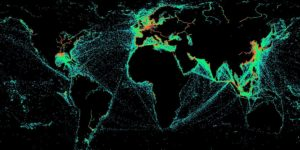 A HawkEye 360 data visualisation that shows every instance over a month in which a boat turned off its automatic identification system (AIS) for more than 8 hours.