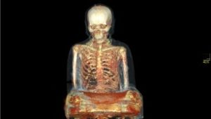 A CT scan of the golden statue.