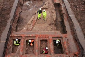 WHILE DIGGING IN THE EXERCISE yard of a defunct jail, construction workers in Gloucester, England, unexpectedly unearthed a castle wall from the 12th century.