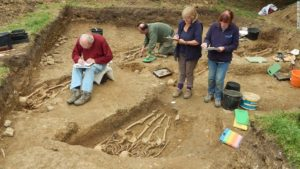 Members of the team excavating and recording the chapel and the cemetery – Photo University of Leicester Archaeological Services