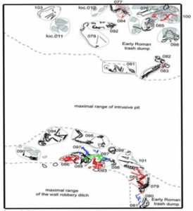 Dispersion of small animal burials in one of the excavated trenches. The level of the trash dump is dated to the 2nd century AD.