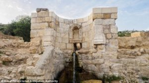 The fountain at the Ein Hanya site was inscribed with images of nymphs, making it the 'first of its kind' in Jerusalem, according to scientists. It has since been restored to working condition