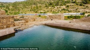Scientists believe the pool (pictured) may have been served as a place for irrigation, washing or landscaping. It may have also been the site of a storied baptism from the New Testament
