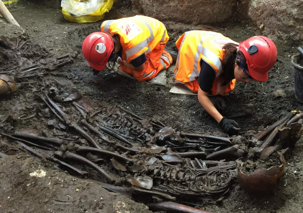 14th-Century Medieval Black Death skeletons unearthed by Crossrail project