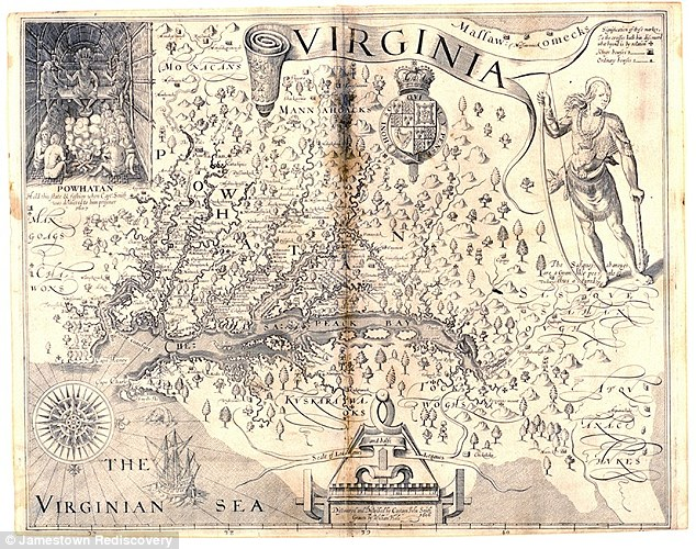 Jamestown, Virginia was the first permanent English colony in the United States. The map above shows Virginia as illustrated by John Smith in 1612