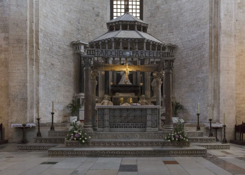 In the 11th century, sailors from Bari and Venice stole bones they believed were of St. Nicholas from a cathedral in Myra. This photo shows the interior of the Basilica of Saint Nicholas in Bari. Many of the bones from Myra were buried in this cathedral.