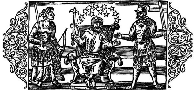 16th century depiction of Norse gods from Olaus Magnus's A Description of the Northern Peoples; from left to right, Frigg, Thor, and Odin