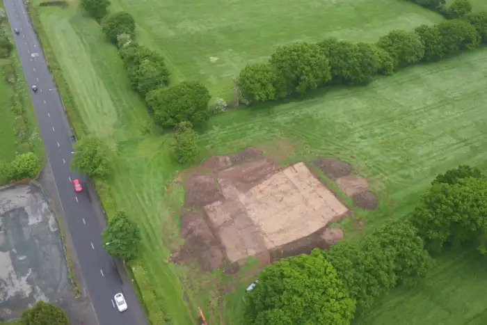 An aerial shot of the Roman Road excavation on the Cuerden Strategic Site. Copyright: Universiry of Salford.