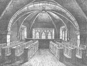 St Mary's Chapel at the Kirk of St Nicholas in Aberdeen was used as a witch prison towards the end of the 16th Century, it has been discovered. Twenty three women and one man were tried and executed after being chained to a wall in the chapel (1886 drawing of St Mary's Chapel after being restored)