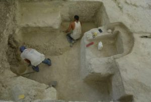 Archaeologists excavate the ancient Maya bath in Guatemala.