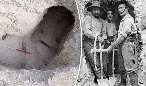 A network of World War I tunnels was found at Larkhill, on England's Salisbury Plain.