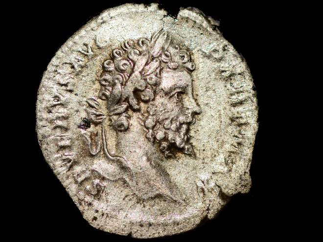 A coin discovered at Vindolanda. It features a portrait of the Roman emperor Septimius Severus – the man who ordered and led the invasion
