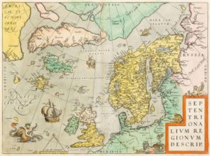 Map of the northern region (including some fantasy islands) by Abraham Ortelius, ca. 1570.