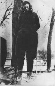 Lepa Radić hangs from a noose just after her execution.