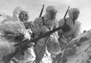 Vasily Zaytsev, left, and soviet snipers equipped with Mosin-Nagant M1891/30 with PE scope in Stalingrad, December 1942.