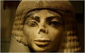 Ancient Egyptian Michael Jackson look-alike. Statue head of a woman, Egyptian, New Kingdom, limestone, Field Museum of Natural History, Chicago