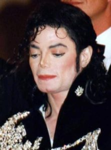 Jackson at the 1997 Cannes Film Festival for the Ghosts music video premiere.