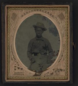 Unidentified young African American soldier in Union uniform.
