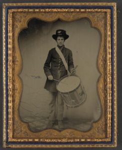 Unidentified young drummer boy in Union uniform.