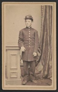 Drummer Jimmy Doyle of Co. B, 18th U.S. Infantry Regiment who was wounded at Chickamauga, Tennessee, in September 1863.