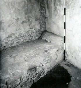 Purpose-built brothels featured cubicles with a permanent foundation for the bed, as in this example from the Lupanar at Pompeii.
