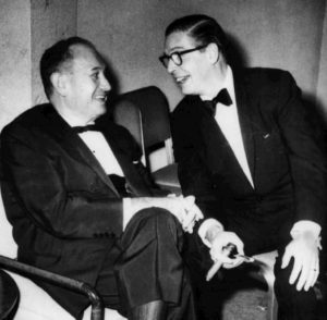The last photo of Harry Parke (Harry Einstein) (Parkyakarkus) taken at a Los Angeles Friars' Club dinner in 1958. He is shown conversing with Milton Berle. Shortly after this photo was taken, Parke collapsed into Berle's lap from a fatal heart attack.