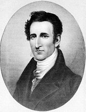 An engraving of Tyler in his mid-thirties (c. 1826) as Governor of Virginia