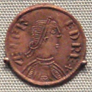 A coin of Alfred, king of Wessex, London, 880 (based upon a Roman model).