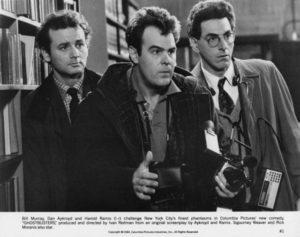 Left to right: Bill Murray, Dan Aykroyd and Harold Ramis (1944 – 2014) as paranormal investigators in Ivan Reitman's 1984 comedy 'Ghostbusters'.