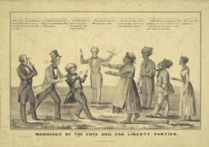 1848 political caricature which savagely satirizes the fact that though the presidential nominee of the newly-formed Free Soil Party, Martin Van Buren, was not himself an abolitionist, he was receiving the support of many abolitionists who had formerly been involved with the Liberty Party.