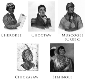 "Gallery of the Five Civilized Tribes: Sequoyah (Cherokee), Pushmataha (Choctaw), Selocta (Muscogee/Creek), a ""Characteristic Chicasaw Head"", and Osceola (Seminole). The portraits were drawn or painted between 1775 and 1850."