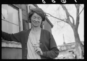 A resident of the river bottoms shacktown in Dubuque, Iowa