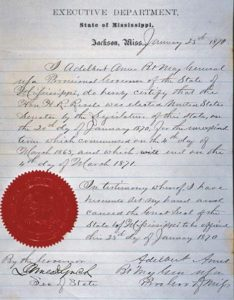 Credentials for Senator Hiram Rhodes Revels of Mississippi, the first African American to serve in the Senate, January 25, 1870
