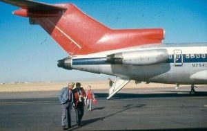 Boeing 727 with the aft airstair open.