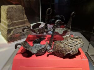 The hipposandals on display at the Roman Army Museum