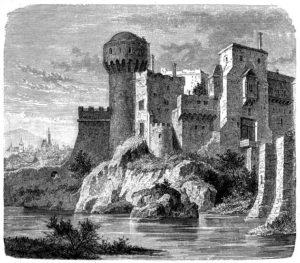 Illustration of a John Hunyadi, Hatzeg Castle, Hunedoara, Transylvania, Romania.