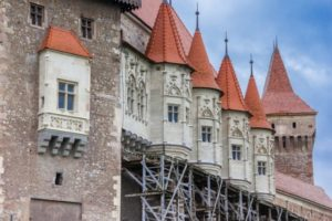 Hunedoara, Romania – June 1, 2014: Towers of the Hunedoara Castle in Romania.