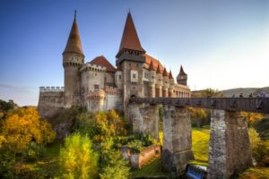 Hunyad or Corvin Castle seen at the golden hour, in Hunedoara, Transylvania, Romania.