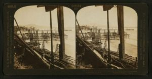 Pumping oil from the sea – oil wells in the surf of Summerland, California.
