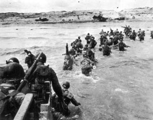 American soldiers land on Utah Beach as part of the D-Day invasion on June 6, 1944.