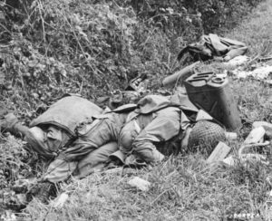 The bodies of American soldiers who died in the crash-landing of their glider during the invasion of Utah Beach.