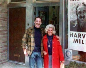 Harvey Milk with his sister-in-law in front of Castro Camera in 1973.