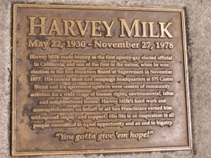 The plaque covering Milk's ashes in front of 575 Castro Street.