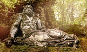 The Neptune statue in Bomarzo gardens, Viterbo province in Lazio