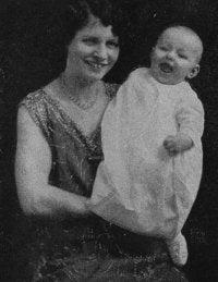 Minnie Brinkley holding John Richard Brinkley III