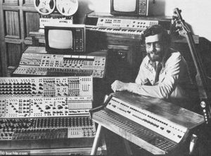 Don Buchla of the eponymous Buchla Model 100 with his equipment. He was part of a large circle of musicians, artists, and San Francisco counter culture personalities, in the 1960s.
