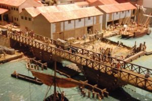 A model of London in 85 to 90 AD on display in the Museum of London, depicting the first bridge over the Thames.