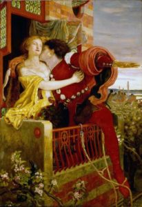 Romeo and Juliet by Ford Madox Brown, 1870, depicting the play's famous balcony scene